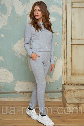Женский спортивный костюм с жемчугом №057 серый, фото 2