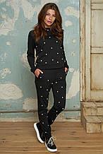 Женский спортивный костюм с жемчугом №057 черный