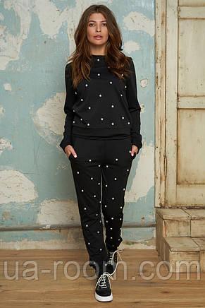 Женский спортивный костюм с жемчугом №057 черный, фото 2
