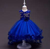 Платье детское с подюбником в комплекте синее бальное выпускное нарядное для девочки в садик или школу., фото 1