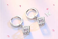 Серебряные серьги с цирконом в кубе, серьги  с кольцом,  женские серьги с с ярким камнем