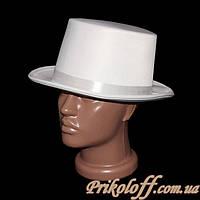 Шляпа Цилиндр белый, текстиль