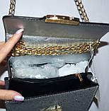 Женский модный черный клатч с глиттером на цепочке 18*13 см, фото 3