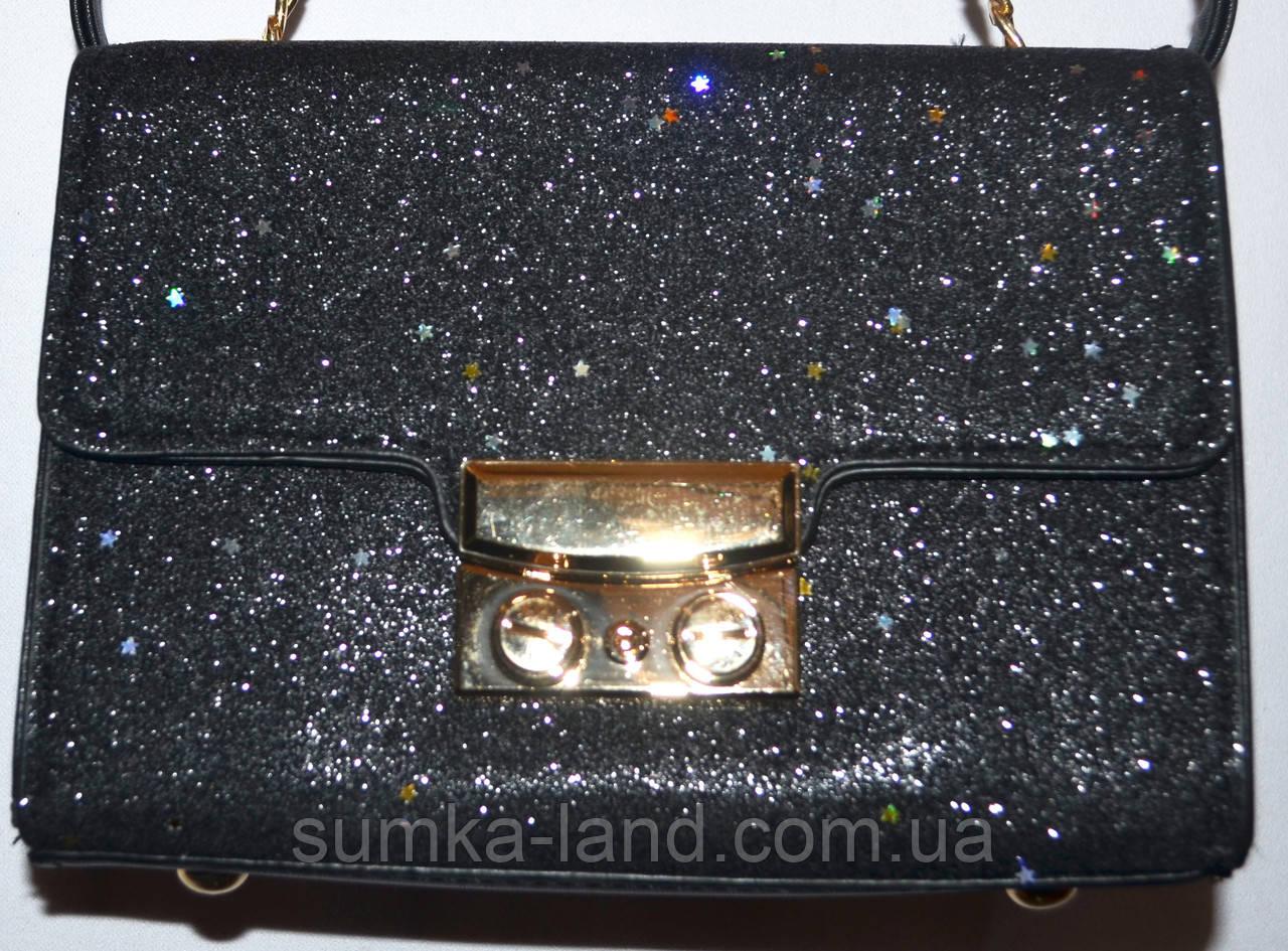 Женский модный черный клатч с глиттером на цепочке 18*13 см