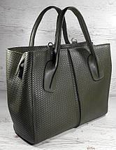 52-1 Натуральная кожа, Сумка женская хаки (оливка, оливковая, зеленая), с тиснением Женская сумка кожаная хаки, фото 2