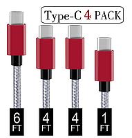 Комплект високоякісних кабелів Covery USB TYPE-C (4 шт. різної довжини)