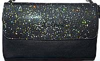 bac138e54e5b Женский черный клатч Moschino с блестящим клапаном на несколько отделений  внутри 26*16 см