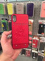 Кожаный чехол для iPhone X G-Case Embossed Pirate Skull (Красный)