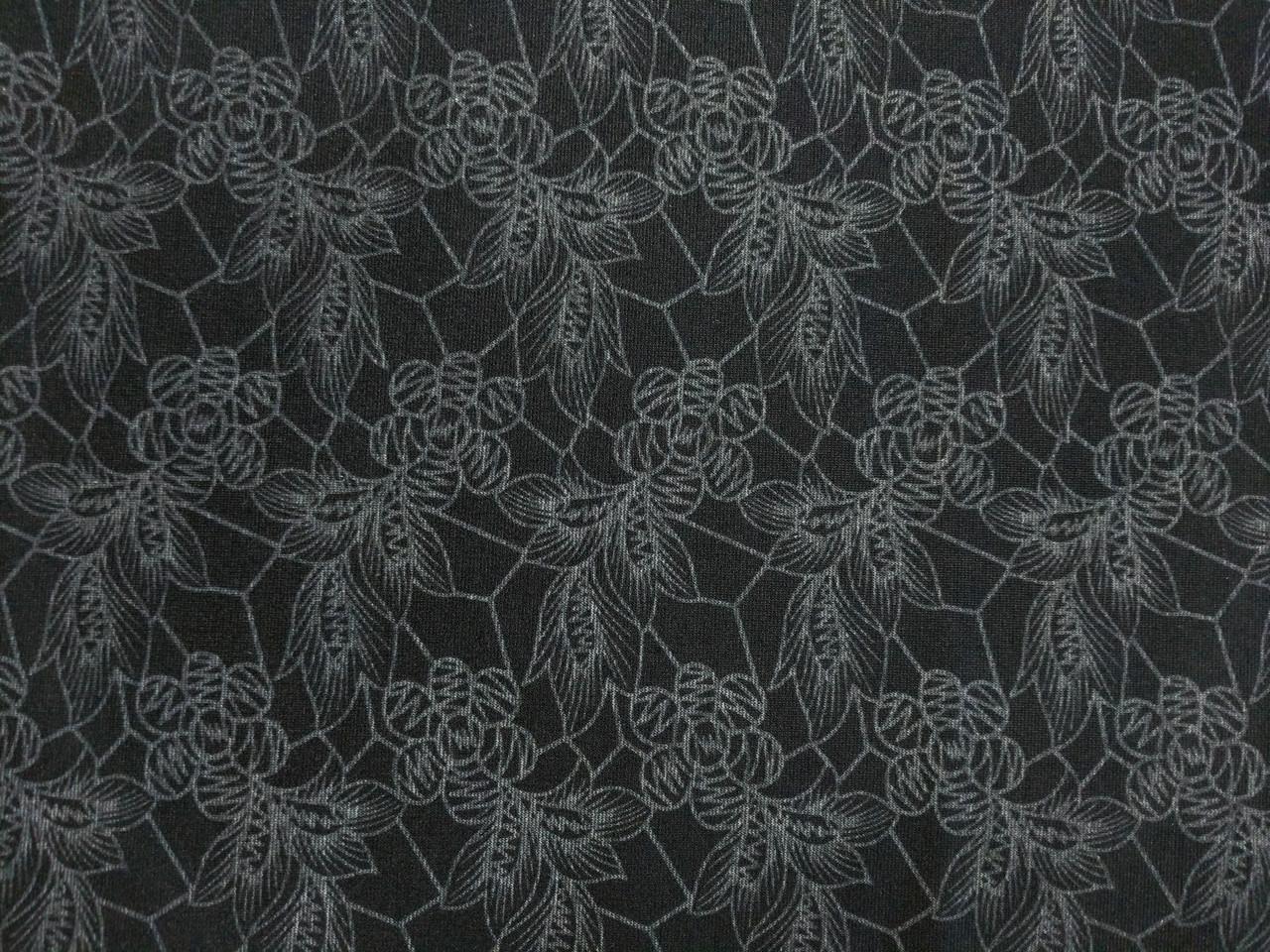 Трикотаж двухсторонний цветочный, черный