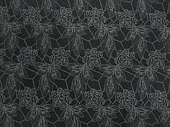 Ткань трикотаж двухсторонний цветочный, черный
