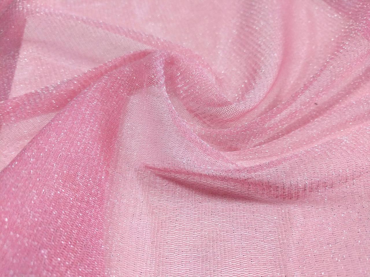 Сетка люрекс, розовый