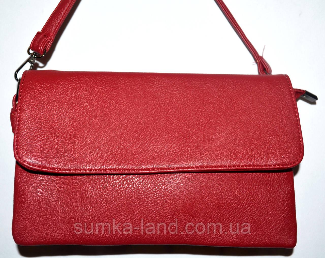 Женский красный клатч-конверт на несколько отделений 27*16 см