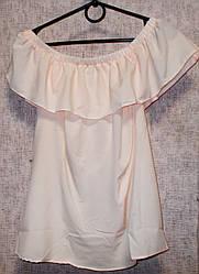 Блуза с воланом персиковая очень легкая размер 46