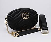 Клатч на цепочке, сумочка на пояс Gucci 20875-1 черная, фото 1