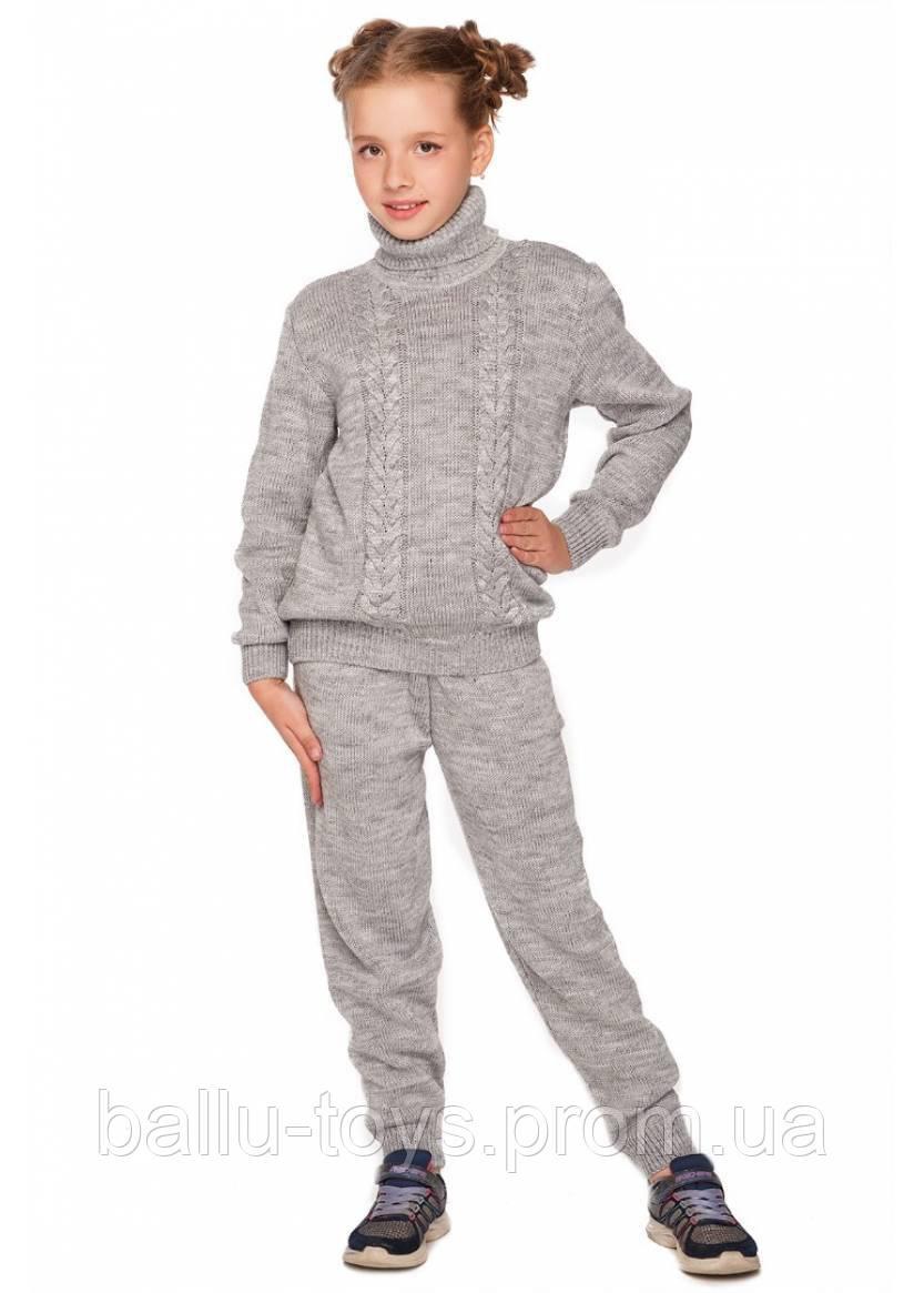 Теплый вязанный костюм для девочек Виктори серый (7-12 лет)