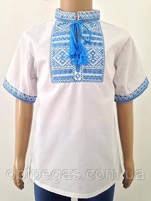 Дитяча вишиванка для хлопчика з блакитною вишивкою довгий рукав Батист   продажа 5fea23e6a028e