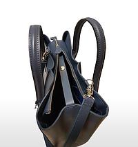 57-2 Натуральная кожа, Сумка женская,светло-синяя Женская кожаная сумка цвета джинс, фото 3