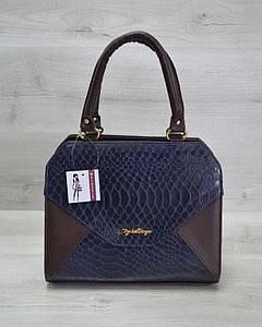 Женская сумка коричневая с синей коброй