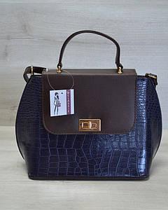 Молодежная женская сумка-клатч синий крокодил с коричневым гладким
