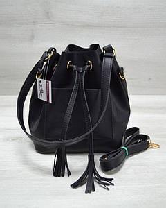 Молодежная сумка из эко-кожи черного цвета