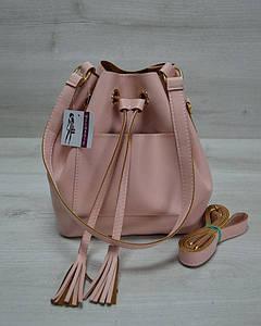Молодежная сумка из эко-кожи пудрового цвета