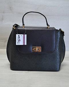 Молодежная женская сумка-клатч зеленая змея с черным гладким