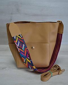 Женская сумка из эко-кожи горчичного цвета