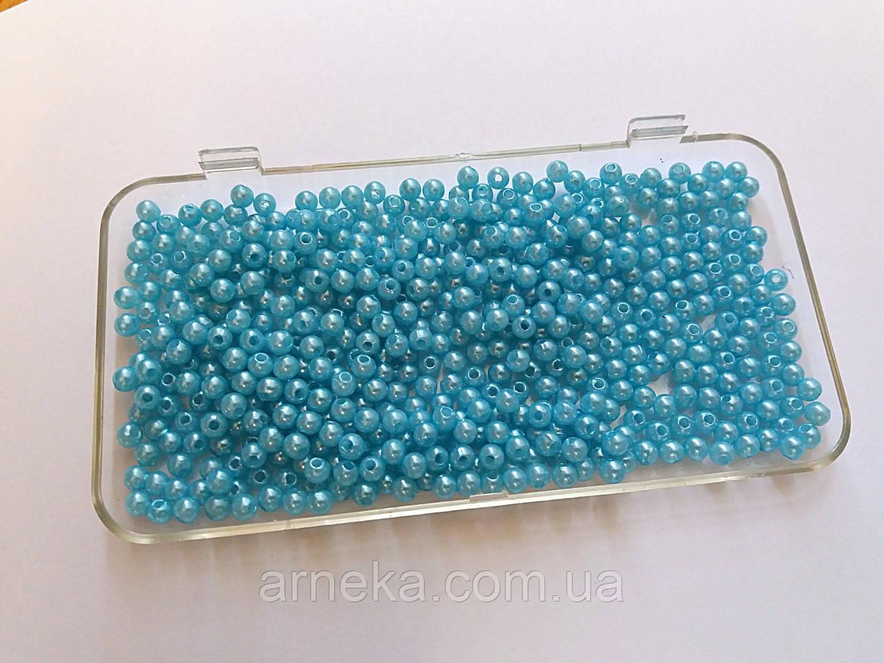 Бусинки 0,4 см голубые 100 шт