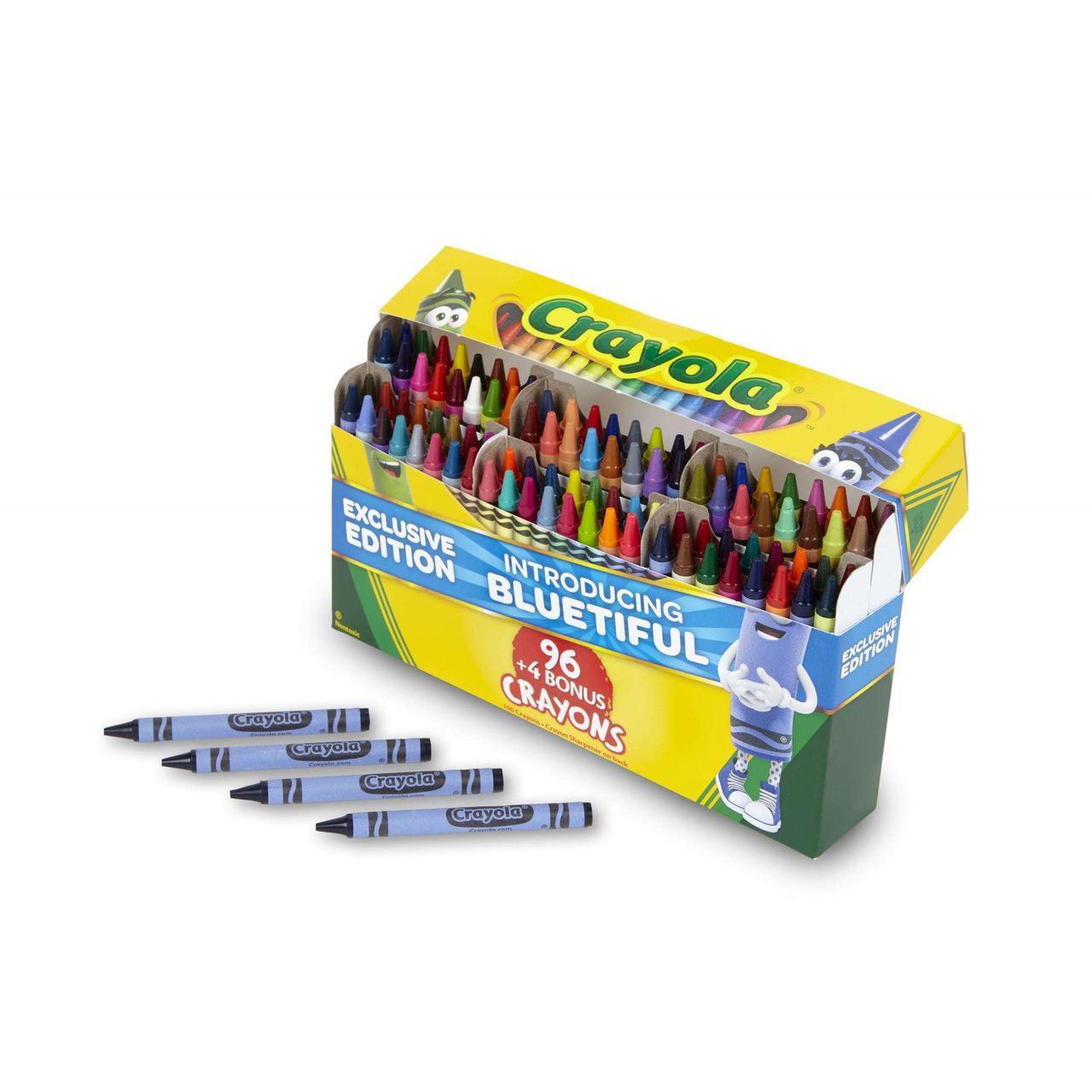 Crayola Набор восковых карандашей 96+4 (100 штук), точилка. Уникальные цвета Color 100 ct. Crayon Box
