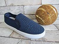 Текстильные синие слипоны Vesnoe девочке 32-19,7 см