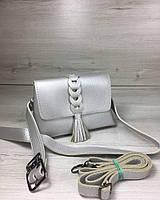 89ee4f12a9ae Женская сумка на пояс- клатч Белла серебряного цвета с плетением и кисточкой