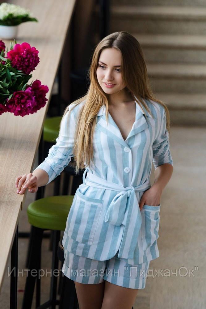 e42f54eeca1973e Женский льняной костюм с шортами - Интернет магазин