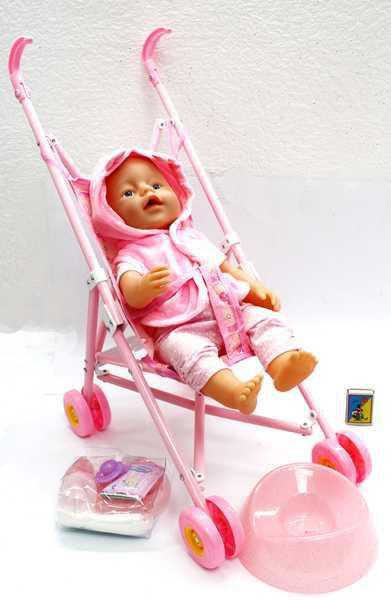 Кукла-пупс Baby Born с аксессуарами и коляской RT07-02