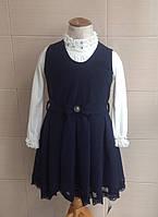 Сарафан школьный с пышной юбкой и кружевом синий Ahsen