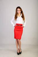 Классическая юбка с завышенной талией и лаковым пояском разные цвета 068
