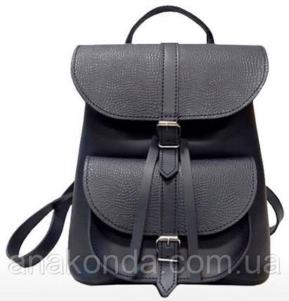 124 Натуральная кожа Городской рюкзак синий Кожаный рюкзак Из натуральной кожи Рюкзак женский синий рюкзак, фото 2