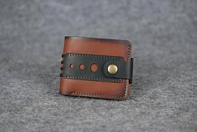 Мужское портмоне с застежкой  60002  Италия   Коричневый + Черный