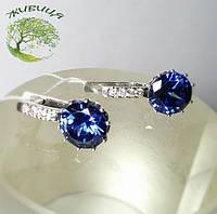 Серьги серебряные с синим фианитом