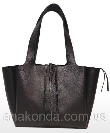 261 Сумка-шоппер женская натуральная кожа, черный