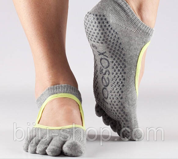 Носки для йоги нескользящие, BALLET, закрытые пальцы, Toesox