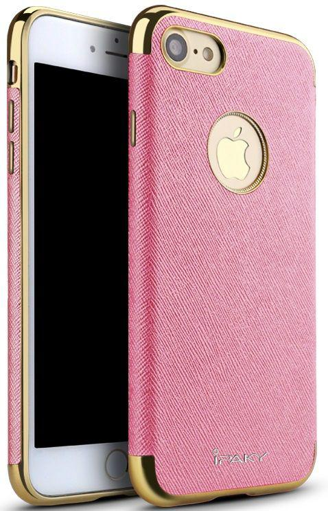 Чехол-накладка Ipaky Chrome connector + Leather Back case iPhone 7 Plus Pink/Gold