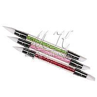 Силиконовая кисть-шейпер для дизайна ногтей, двухсторонняя со стазами, SNP-01
