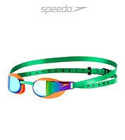 Зеркальные очки для плавания премиум класса Speedo Fastskin 3 Elite (Fluo Orange/Lawn Green)