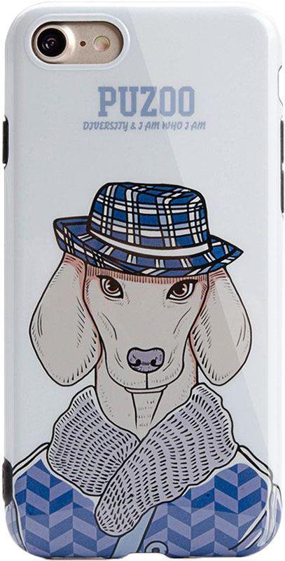 Чехол-накладка PUZOO TPU Glossy Shiny Powder Art dog iPhone 7/8 White Ravan