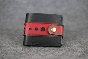 Мужское портмоне с застежкой  60003  Италия   Черный + Красный
