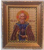 Икона Преподобного Чудотворца Се́ргия Ра́донежского, 17х20 см, бисер, 350