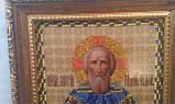 Икона Преподобного Чудотворца Се́ргия Ра́донежского, 17х20 см, бисер, 350, фото 2