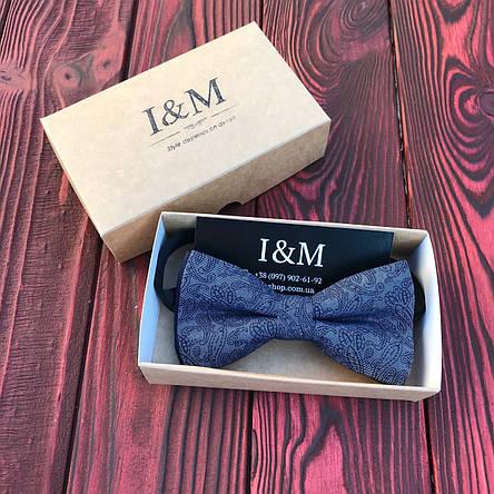 Галстук-бабочка I&M Craft серая с синим узором (00056), фото 2