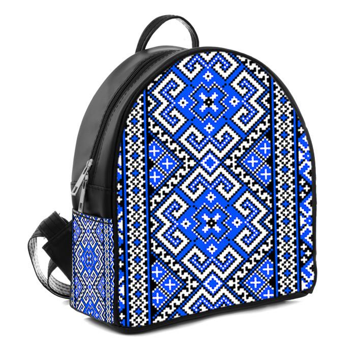 Рюкзак Moderika Arco черный с рисунком Вышиванка синяя (77904)