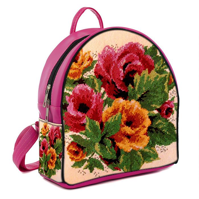Рюкзак Moderika Arco розовый с рисунком Вышиванка маки (77958)